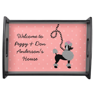 Poodle Skirt Retro Pink and Black 50s Personalized Serving Tray