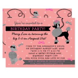 Vintage french birthday cards invitations zazzle poodle skirt retro pink black 50s birthday party card bookmarktalkfo Images