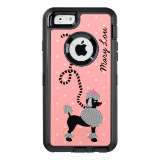 Poodle Skirt Retro Pink Black 50s Dog Cute | Name OtterBox Defender iPhone Case