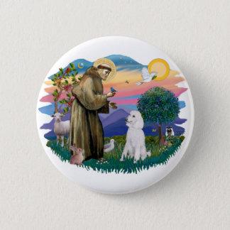Poodle (Standard White) 6 Cm Round Badge
