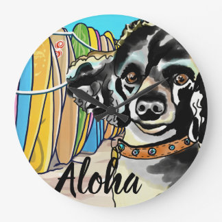 Poodle Surfer at Hawaii Beach (Personalize Text) Large Clock