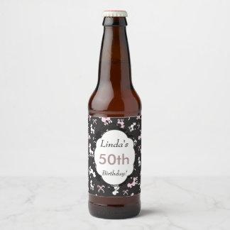 Poodle theme birthday beer bottle label