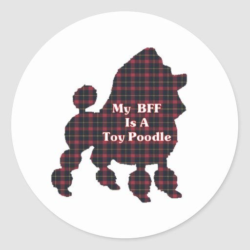 Poodle Toy BFF Gifts Round Sticker