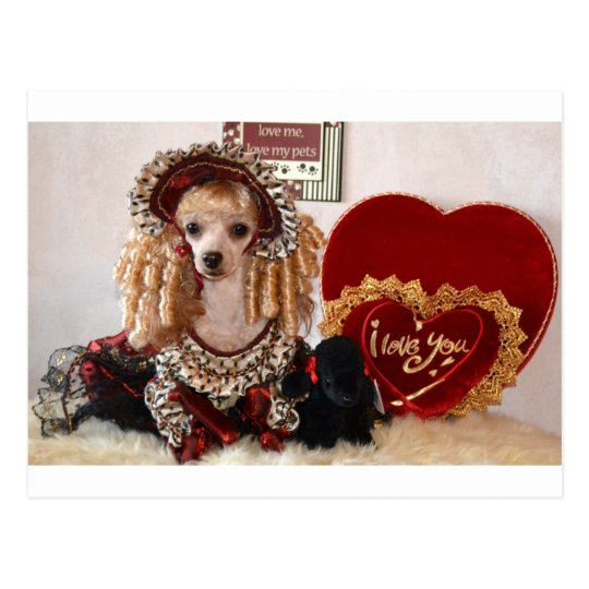 Poodle Valentine Love Dog Victorian Picture Postcard