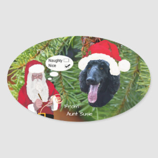 Poodle w/Santa makin His Naughty or Nice List Oval Sticker