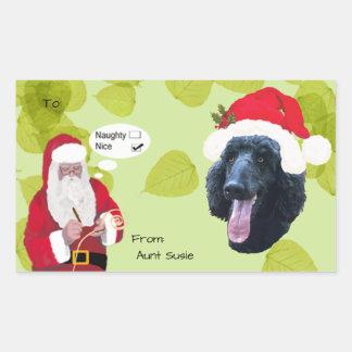 Poodle w/Santa makin His Naughty or Nice List Rectangular Sticker