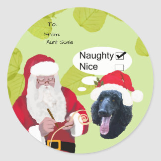 Poodle w/Santa makin His Naughty or Nice List Round Sticker