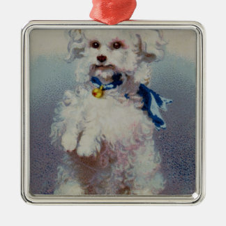 Poodle with blue ribbon christmas ornament
