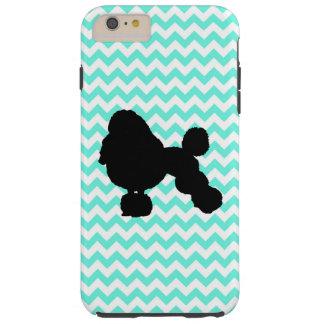 Poodle With Light Blue Chevron Tough iPhone 6 Plus Case