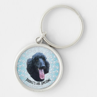 Poodle's are Awesome Silver-Colored Round Key Ring