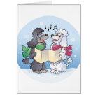 Poodles Christmas Caroling Card