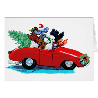 Poodles Christmas Vintage Car Art Print Card