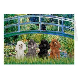 Poodles (four) - Bridge Greeting Card