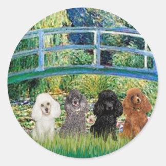 Poodles (four) - Bridge Round Sticker