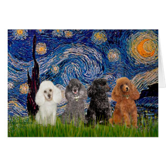 Poodles (four) - Starry Night Card