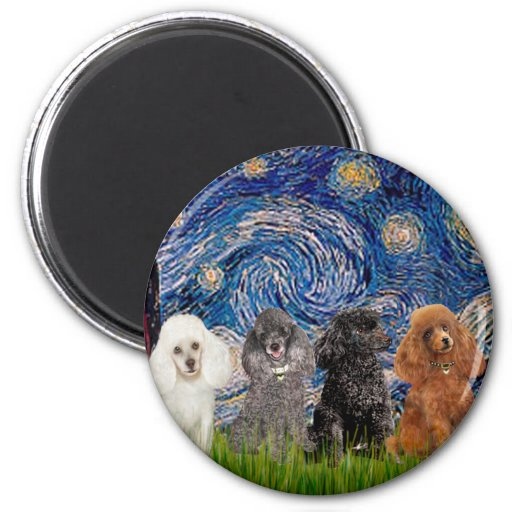 Poodles (four) - Starry Night Fridge Magnets