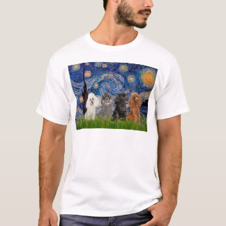 Poodles (four) - Starry Night T-Shirt