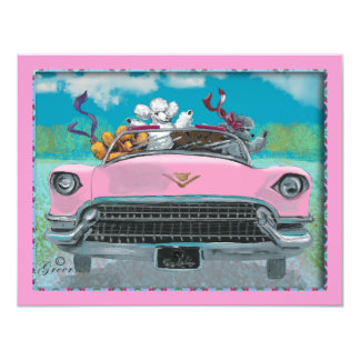 Poodles in Pink Cadillac Retro Print Invitation