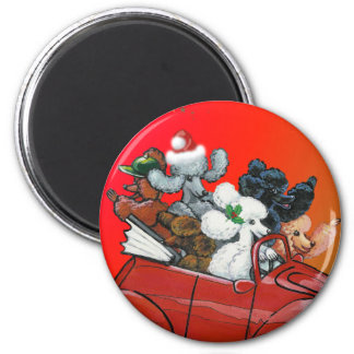 Poodles in Red Convertible Christmas 6 Cm Round Magnet