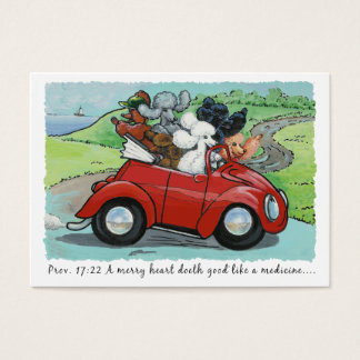 Poodles in Vintage Auto Scripture Business Cards