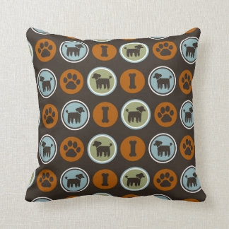 Poodles Pattern with Paw Prints and Dog Biscuits Cushion