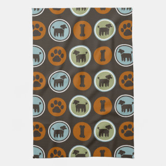 Poodles Pattern with Paw Prints and Dog Biscuits Tea Towel