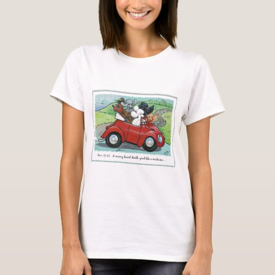 Poodles Vintage Car Scripture Womens Tee Shirt