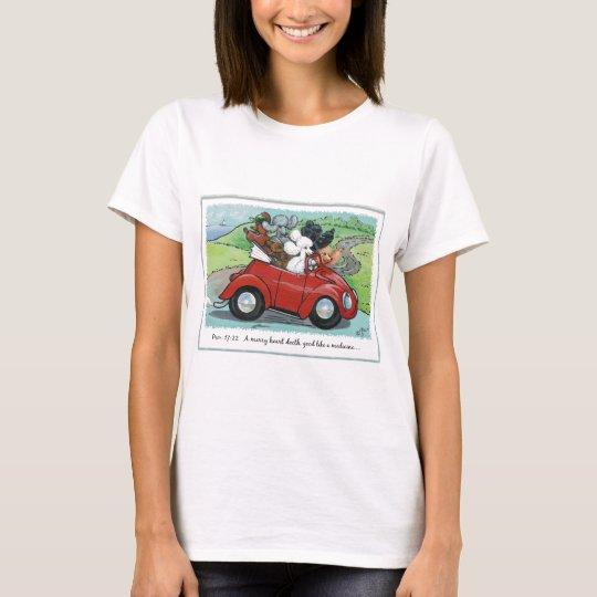 Poodles Vintage Car Scripture Womens Tee Shirt
