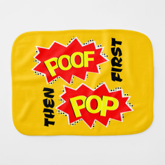 POOF and POW starbursts Burp Cloths