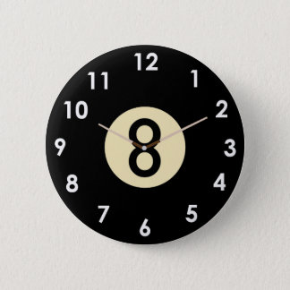Pool 8 Ball Clock Face 6 Cm Round Badge