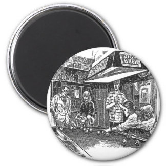 POOL AND BAR 6 CM ROUND MAGNET