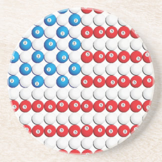 Pool Ball American Flag Drink Coasters