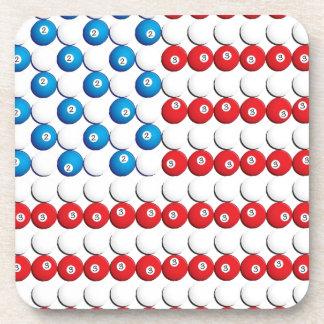 Pool Ball American Flag Coasters