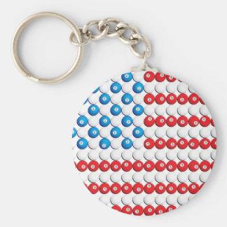 Pool Ball American Flag Key Chains