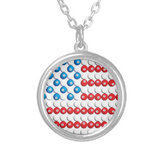 Pool Ball American Flag Custom Necklace