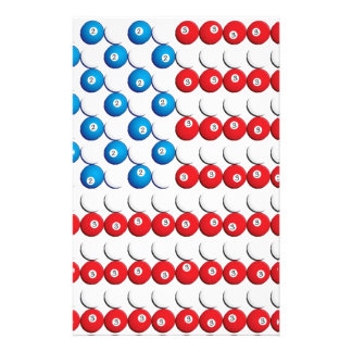 Pool Ball American Flag Customized Stationery