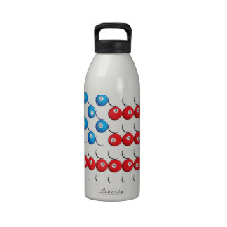 Pool Ball American Flag Water Bottle