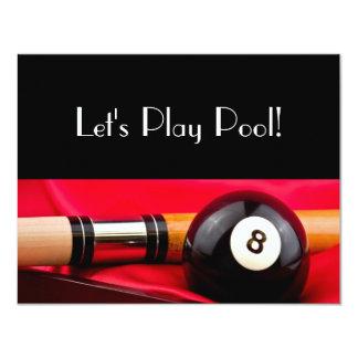 Pool Ball and cue 11 Cm X 14 Cm Invitation Card