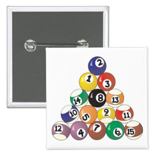 Pool Balls 15 Cm Square Badge