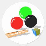 Pool Balls and Stick Round Stickers