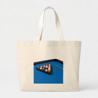 Pool Balls on Blue Felt Billiards Table: Tote Bags
