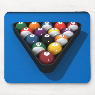 Pool Balls on Blue Felt: Mouse Mat