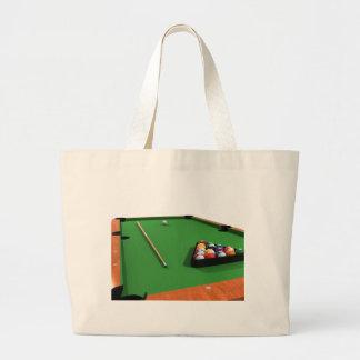 Pool Balls on Green Felt Billiards Table: Bags