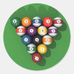Pool Balls on Green Felt: Round Stickers