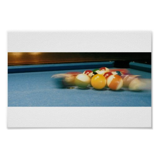 Pool / Biliiards Table, balls, ques -- Poster