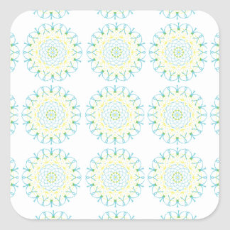 Pool Blue and Pale Yellow Pattern Square Sticker