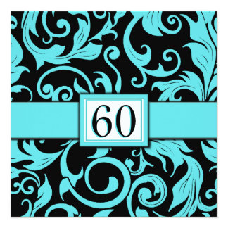 Pool Blue & Black 60th Birthday Party Invitations