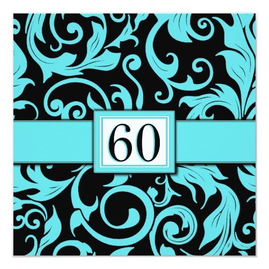 Pool Blue & Black 60th Birthday Party Invitations