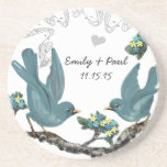 Pool Blue & Yellow Vintage Love Birds Coasters