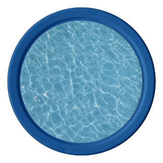 Pool Clay Poker Chips, Blue Solid Edge Poker Chips